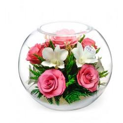 """Цветы в стекле """"Розовый фламинго"""""""