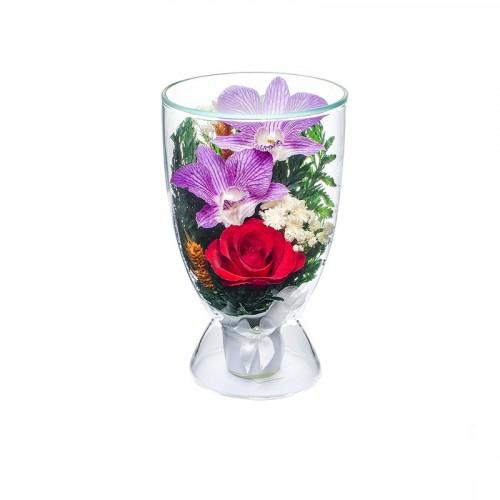 """Цветы в стекле """"Поздравляю"""""""